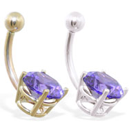 14K Gold belly ring with large 8mm Amethyst