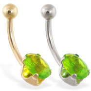 14K Gold belly ring with oval peridot