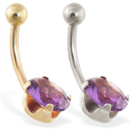 14K Gold belly ring with oval amethyst