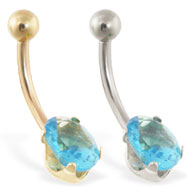 14K Gold belly ring with oval aquamarine