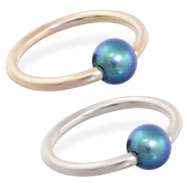 14K Gold captive bead ring with Round Peacock Akoya Pearls, Grade AA