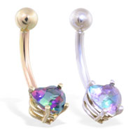 14K Gold belly ring with mystic topaz 6mm CZ heart