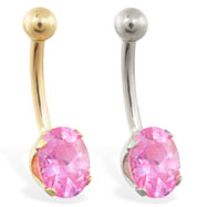 14K Gold belly ring with oval pink tourmaline