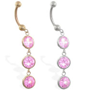 14K Gold belly ring with 3 dangling pink circle CZ'S