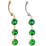 14K Gold belly ring with 3 dangling emerald circle CZ'S