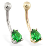 14K Gold belly ring with small emerald teardrop CZ