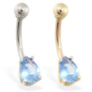 14K Gold belly ring with small aquamarine teardrop CZ