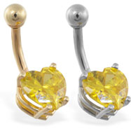 14K Gold belly ring with yellow 8mm CZ heart
