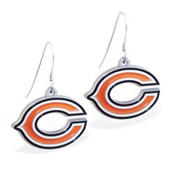 Sterling Silver Earrings With Official Licensed Pewter NFL Charm, Chicago Bears