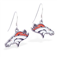 Sterling Silver Earrings With Official Licensed Pewter NFL Charm, Denver Broncos