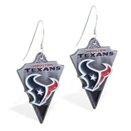 Sterling Silver Earrings With Official Licensed Pewter NFL Charm, Houston Texans