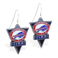 Sterling Silver Earrings With Official Licensed Pewter NFL Charm, Buffalo Bills