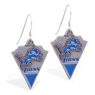 Sterling Silver Earrings With Official Licensed Pewter NFL Charm, Detroit Lions