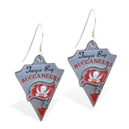 Sterling Silver Earrings With Official Licensed Pewter NFL Charm, Tampa Bay Buccaneers