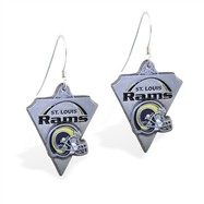 Sterling Silver Earrings With Official Licensed Pewter NFL Charm, St. Louis Rams