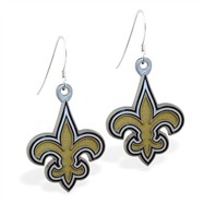 Sterling Silver Earrings With Official Licensed Pewter NFL Charm, New Orleans Saints