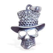Skull with jeweled hat pendant