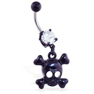 Black coated belly ring with dangling skull