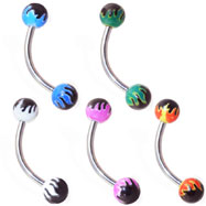 Curved barbell with colored flame balls, 16 ga