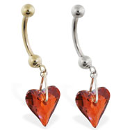 14K Gold belly ring with dangling swarovski red crystal heart