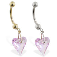 14K Gold belly ring with dangling swarovski pink crystal heart