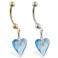 14K Gold belly ring with dangling swarovski aquamarine  crystal heart
