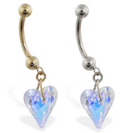 14K Gold belly ring with dangling swarovski ab crystal heart