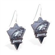 Sterling Silver Earrings With Official Licensed Pewter NFL Charm, Philadelphia Eagles