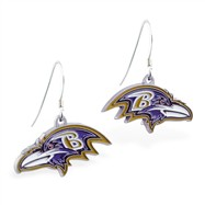 Sterling Silver Earrings With Official Licensed Pewter NFL Charm, Baltimore Ravens