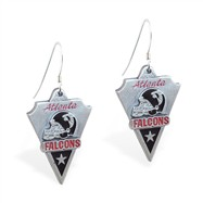 Sterling Silver Earrings With Official Licensed Pewter NFL Charm, Atlanta Falcons