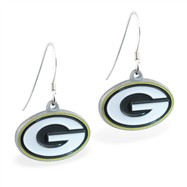 Sterling Silver Earrings With Official Licensed Pewter NFL Charm, Green Bay Packers