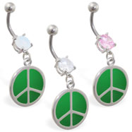 Navel ring with dangling green peace sign