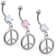 Jeweled navel ring with dangling peace sign