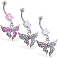 Belly ring with dangling pave jeweled elegant butterfly