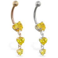 14K Gold belly ring with triple heart yellow CZ dangle