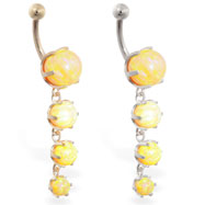 14K Gold belly ring with quadruple yellow opal dangle