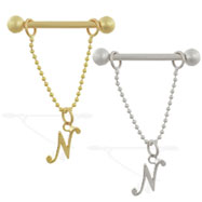 14K Gold nipple ring with dangling cursive initial N