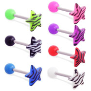 Straight barbell with colored ball and colored tiger print star top, 14 ga
