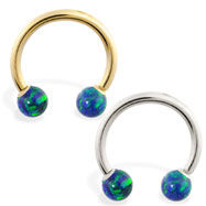 14K Gold Horseshoe/Circular Barbell with Blue Green Opal Balls