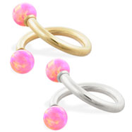 14K Gold twister barbell with Pink opal balls , 14ga