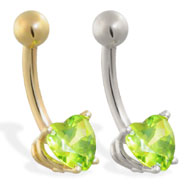 14K Gold belly ring with peridot 6mm CZ heart