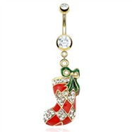 Gold Tone Christmas Belly Button Ring with Dangling Stocking