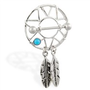 Nipple shield with turquoise stone and dangling feathers, 14 ga