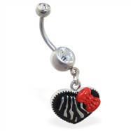 Heart dangle belly ring with zebra print and bow