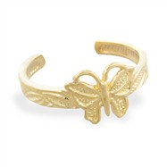 14K Gold elegant butterfly toe ring