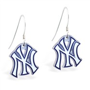 Sterling Silver Earrings With Official Licensed Pewter MLB Charms, New York Yankees
