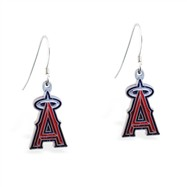 Sterling Silver Earrings With Official Licensed Pewter MLB Charms, Los Angeles Angels