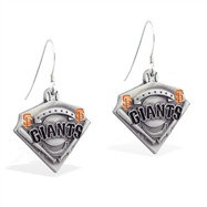 Sterling Silver Earrings With Official Licensed Pewter MLB Charms, San Francisco Giants