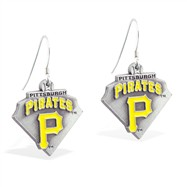 Sterling Silver Earrings With Official Licensed Pewter MLB Charms, Pittsburgh Pirates