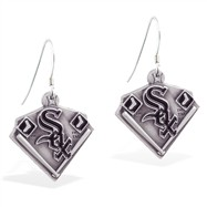 Sterling Silver Earrings With Official Licensed Pewter MLB Charms, Chicago White Sox